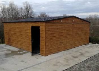Garaż Blaszany 6x6 Dwuspadowy Drewnopodobny Wiaty Hale