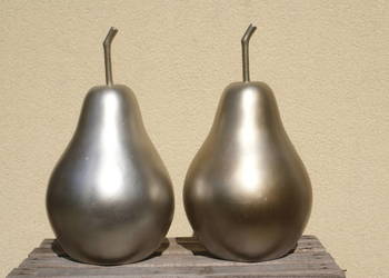 Duża srebrna dekoracyjna gruszka - komplet 2szt