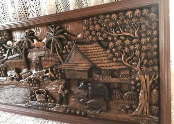Płaskorzeźba 107cm drewniany obraz relief ręcznie rzeźbiony