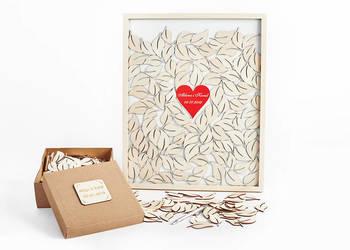 Księga Gości Rama do wrzucania serduszek - naturalna 40x50cm