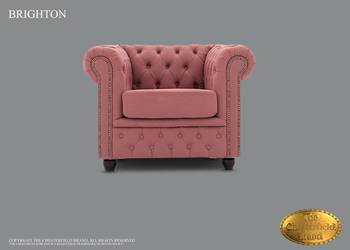 Chesterfield sofa 1 os z materialu Brighton roz