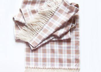 Szalik w kratkę,długi i szeroki szalik zimowy,beżowy szalik