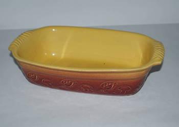Forma ceramiczna do zapiekania w piecu  – żółto-bordowa