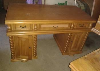Meble dębowe kredens i biurko duży komplet, rzeźbione