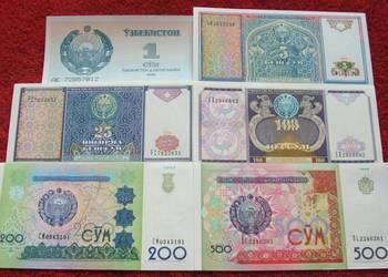 UZBEKISTAN Kolekcjonerskie Banknoty Zestaw - 6 sztuk UNC