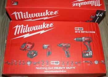 Milwaukee M18BPD udar 2x4Ah + wkretarka latarka M12