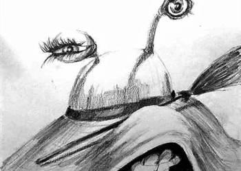 """Rysunek ołówkiem ''Kapelusz"""" artystki Adriany Laube"""