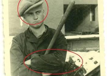 Stara fotografia robotnik ? odbudowa miasta? Agfa Brovira