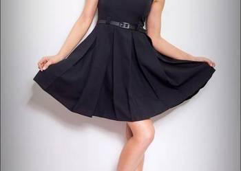 jokastyl CZARNA rozkloszowana sukienka PASEK 36 S
