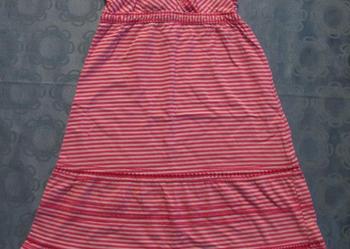 Sukienka na ramiączkach w różowe paski - rozmiar 122/128.