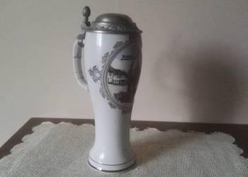 Kolekcjonerski, ceramiczny kufel z cynową klapką Reichsbach