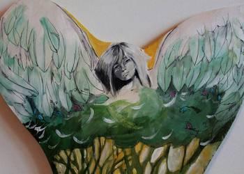 Obraz malowany na drewnie ''Anioł pierzasty''