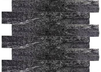 Panele ścienne 10x36 kwarcyt Stackstone Black ściany