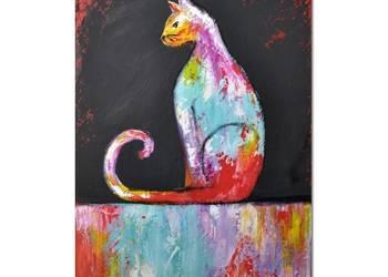 Kot ML /4/, obraz ręcznie malowany