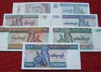 MYANMAR (2) Kolekcjonerskie Banknoty Zestaw - 7 sztuk UNC