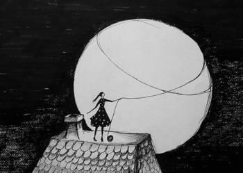 Rysunek piórkiem ''Dom'' artystki Adriany Laube