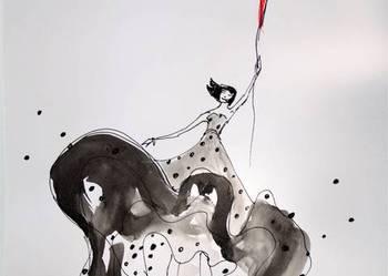 Praca akwarelą i piórkiem ''Szczęście'' artystki A. Laube