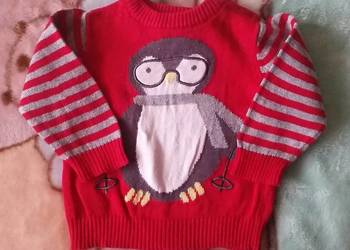Sweterek świąteczny zimowy pingwin r. 62