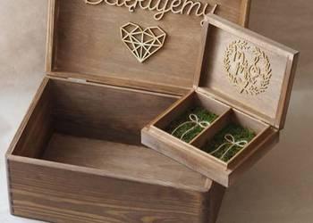Zestaw rustykalny- skrzynka na koperty+pudełko na obrączki