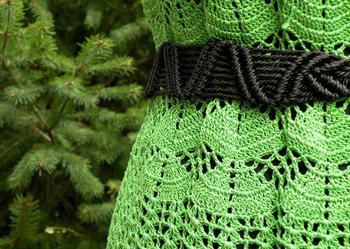 Zielona sukienka na szydełku, handmade