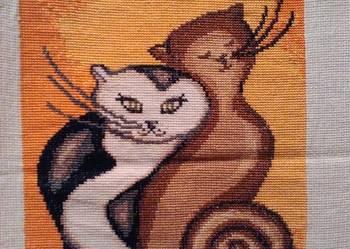 "Obraz haftowany ""Koty"""