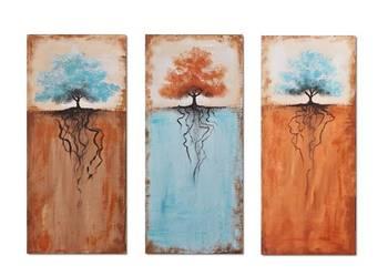 Drzewa, nowoczesny obraz ręcznie malowany