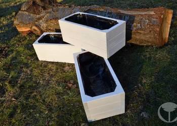 doniczki drewniane białe  43/20/20 cm