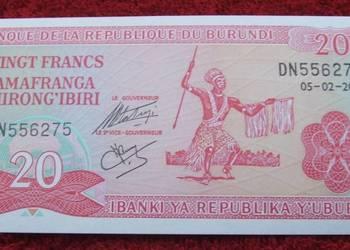 BURUNDI 20 FRANCS WOJOWNIK Kolekcjonerski Banknot 1 szt UNC