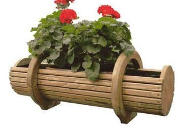 Donica doniczka drewniana na kwiaty kolor+folia