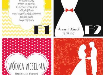 Etykiety i zawieszki na wódkę weselną osiemnastkową