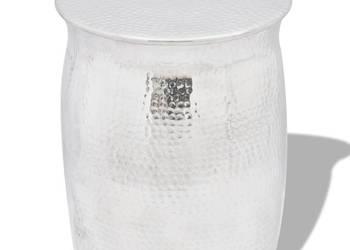Aluminiowy stolik do kawy taboret Srebrny 242324