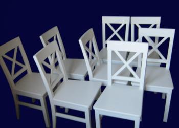 białe krzesła drewniane, oparcie Krzyżak, styl Prowansja, OK
