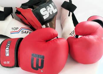 Rękawice bokserskie , ochraniacz głowy, ochraniacz stóp-kmpl