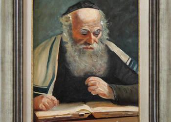 Obraz olejny żyd w tałesie portret żyda z ramą T. Mrowiński