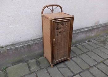 Bambusowa szafka obłożona rattanem styl kolonialny 376