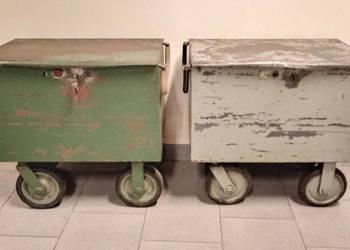 Wózek transportowy na kółkach stalowy kontenerek z uchwytami