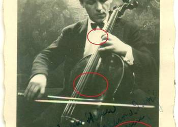 Stare zdjęcie muzyk wiolonczelista wiolonczela 1929 rok