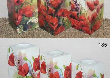 3 duże świeczniki Maki róże lawenda prezent wzory