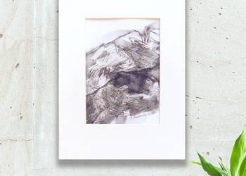 Czarno biały szkic,krajobrz górski obrazek,obrazek z górami