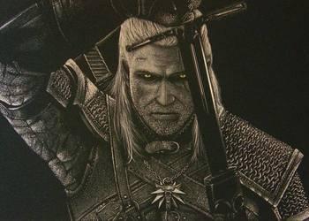 Ręcznie grawerowany w blasze Wiedźmin Geralt prezent