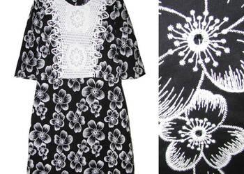 Zara piękna czarna haftowana sukienka z szydełkową wstawką