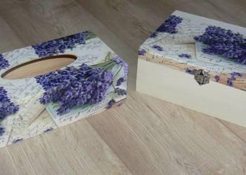 Herbaciarka + chustecznik pudełko na chusteczki lawenda wzor