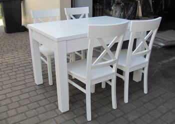 Komplet stół 120x80;/190 i 6 krzeseł biały rozkładany