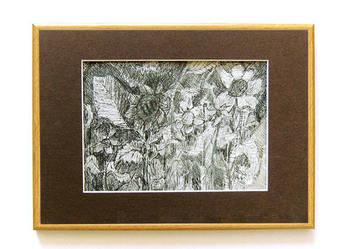 Ogród - czarno biały rysunek, rysunek z kwiatami,grafika