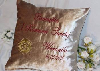 Podziękowanie Pamiątka na I Komunię Świętą Poduszka Haft WEL