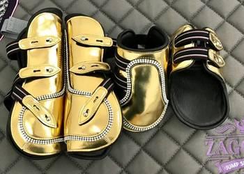 Złote skórzane ochraniacze dla konia Glamhorse- komplet 4szt