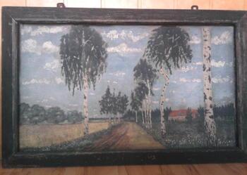 Przedwojenny obraz, 'Droga z brzozami', 88 x 52 cm, rama powojenna, Antyk z ramą,Obrazy