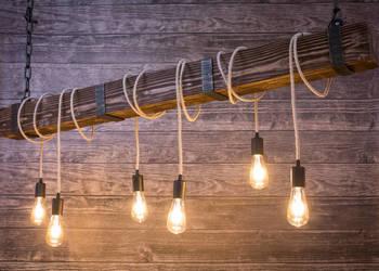 Lampa Drewniana Belka z Żarówkami Edison 150cm Łódź
