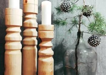 Świeczniki drewniane toczone dekoracje wyroby z drewna