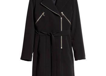 NOWY płaszcz wyjściowy czarny H&M złote zamki pasek rozm: 38
